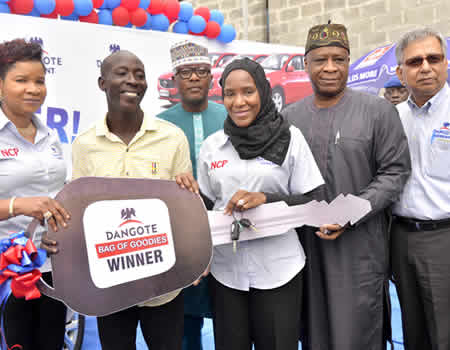 Lucky labourer wins first saloon car in Dangote Cement bags