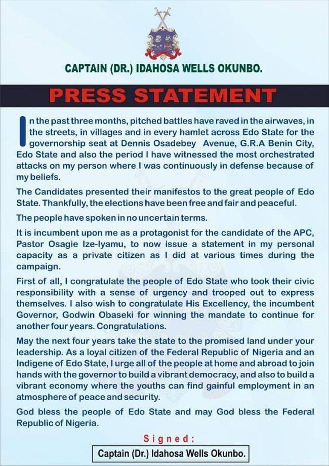 Captain Hosa congratulates Obaseki