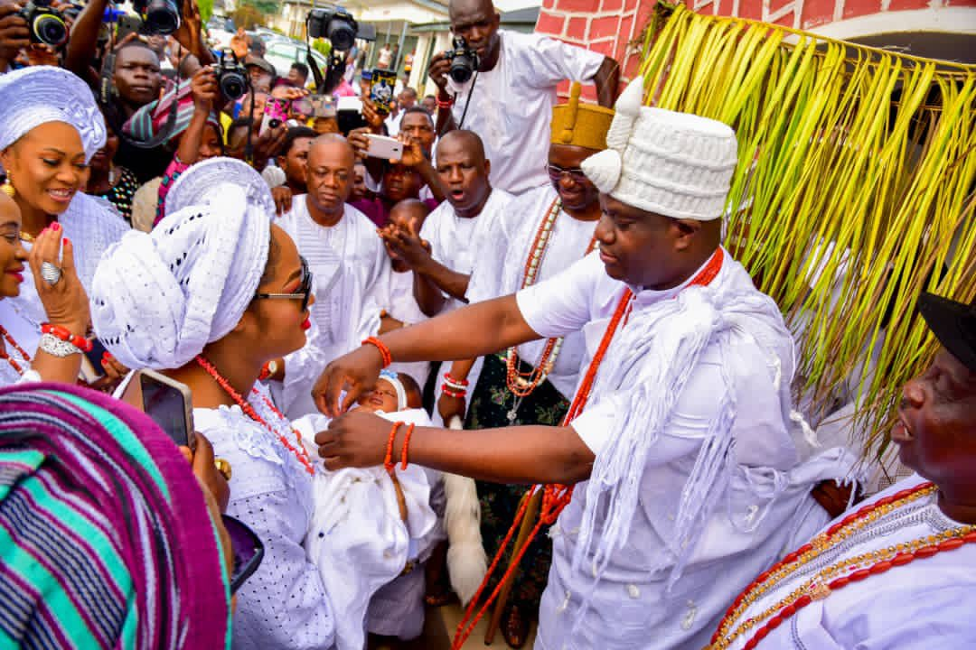 PHOTOS: After 21 days of his birth, Ooni of Ife unveils new son