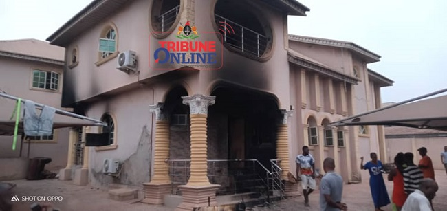 VIDEO+PHOTOS: Sunday Igboho's house in Ibadan gutted by fire