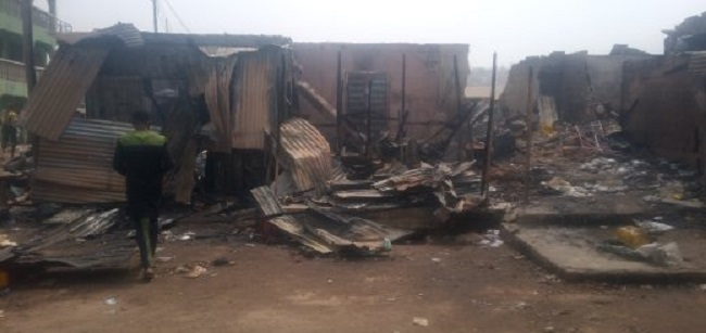 Shops, residential building razed, two persons injured by fire in Kogi